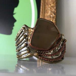 Jewelry - Metal Cuff Bracelet with Stone